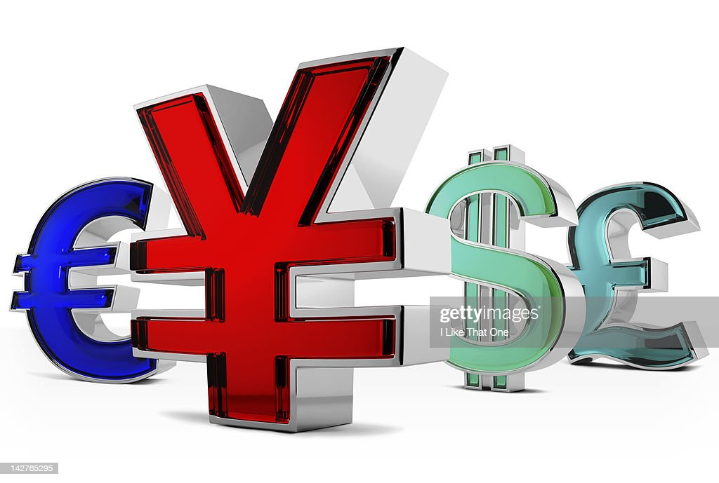 Metal and red glass Yen symbol with others : Stock Photo