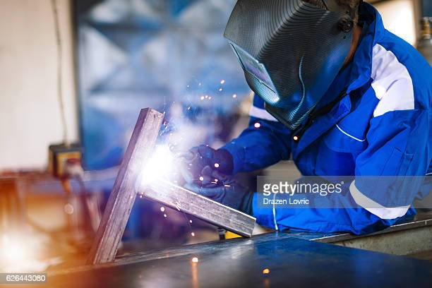 Metal and steel welding in metal factory