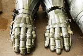 Medieval armor metal gloves, war and recreation