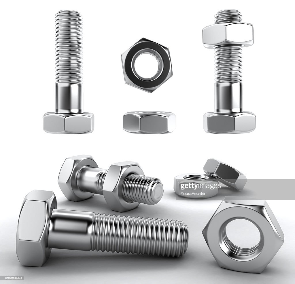 Metal bolts 3D : Stock Photo