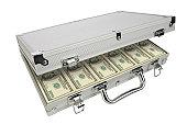 Metal Briefcase Full of Bribe/Ransom Money, Hundred Dollar Bills