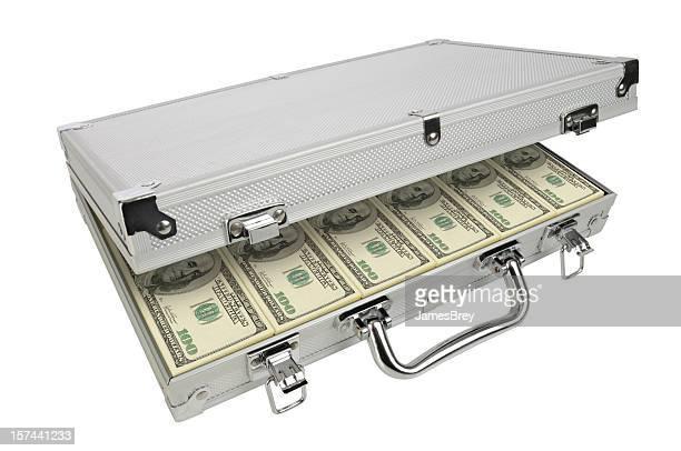 Aktentasche aus Metall mit Bestechung und Ransom Geld, Hundert-Dollar-Noten in der Hand