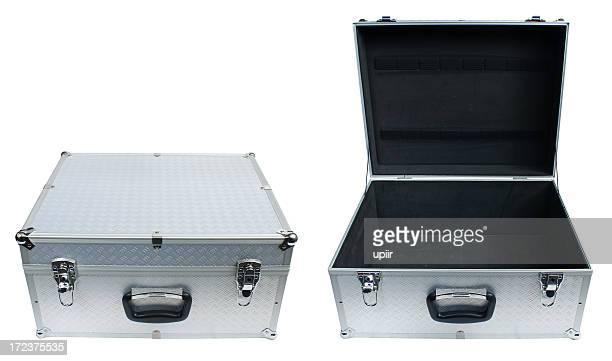 Caja de Metal abiertos y cerrados, con trazado de recorte, el icono