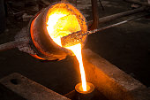 Pouring molten metal into the mold