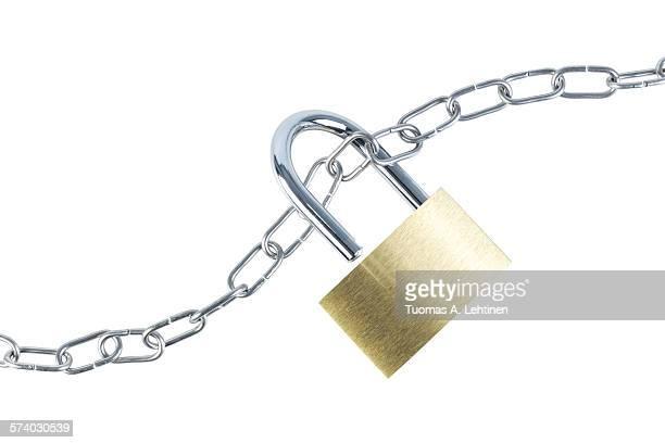 Metal chain and an unlocked padlock