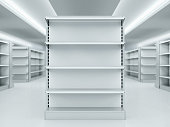 Metal clean shelves in modern market. 3d rendering