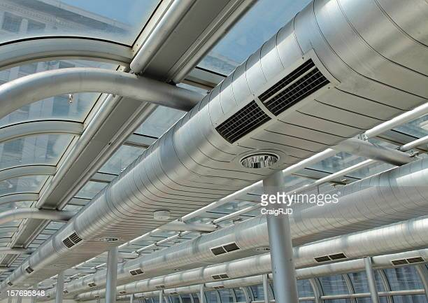 Metal ducting on the ceiling of a building