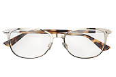Metal eyeglasses in rectangular frame transparent for reading or good vision, top view isolated on white background.