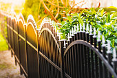 Black iron fence and sunlight