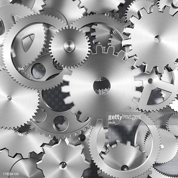 Metal gearwheels arrangement background