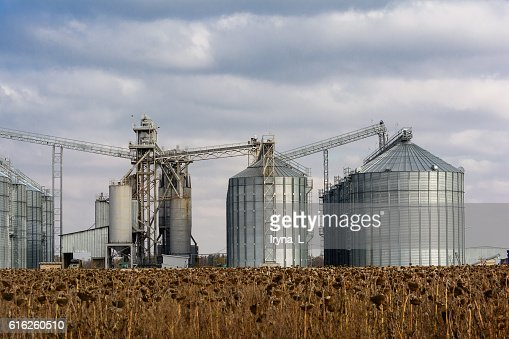 Metal grain elevator in agricultural zone. : Foto de stock