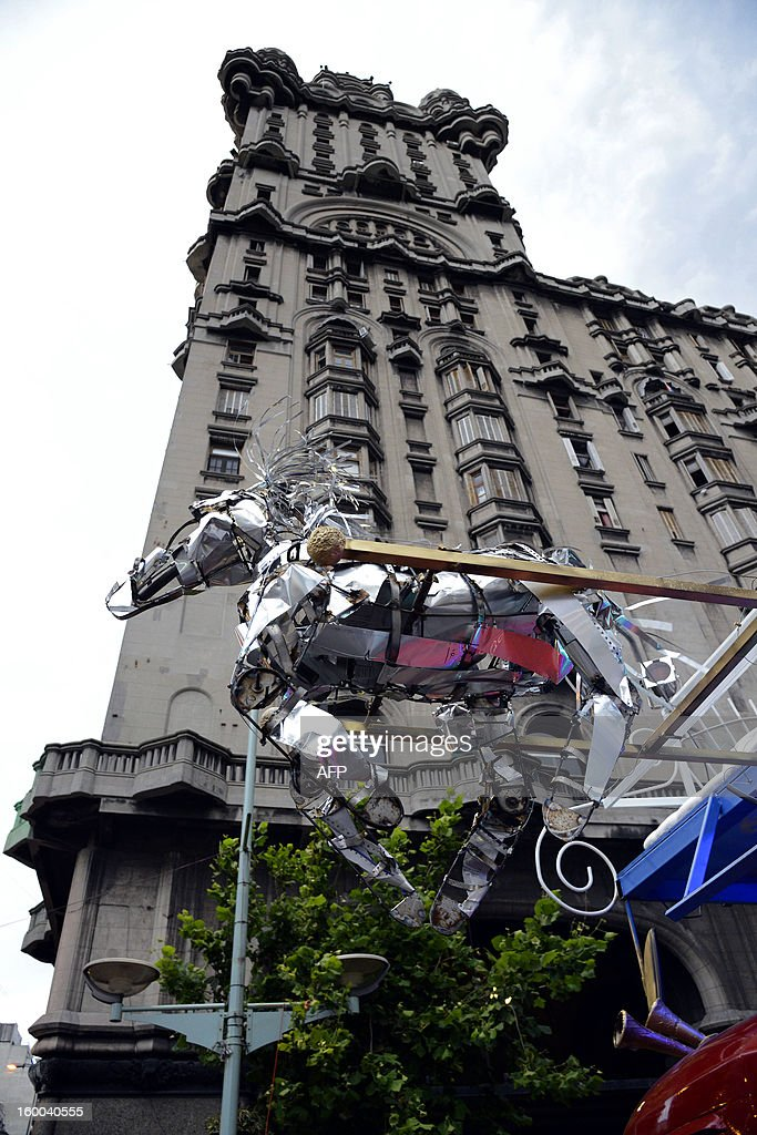 A metal horse, part of a float, is seen before the beginning of a Carnival street parade in Montevideo, on January 24, 2013. The parade, which marks the beginning of the Uruguayan Carnival, was canceled due to a severe storm that hit the city. AFP PHOTO / Daniel CASELLI