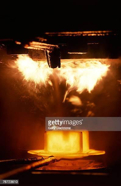 Metal ingot in a furnace