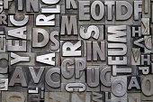 A background of vintage metal letterpress type