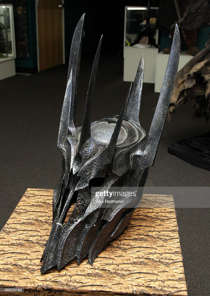 A metal mask for the character Sauron from the movie Lord of The Rings at Julien's Auctions present The Trilogy Collection: Props and Costumes from Middle Earth, Street Art Auction and Icons and Idols: Rock n' Roll Memorabilia at Julien's Gallery on December 2, 2013 in Beverly Hills, California.