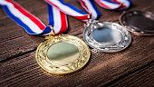 Metal medal on background