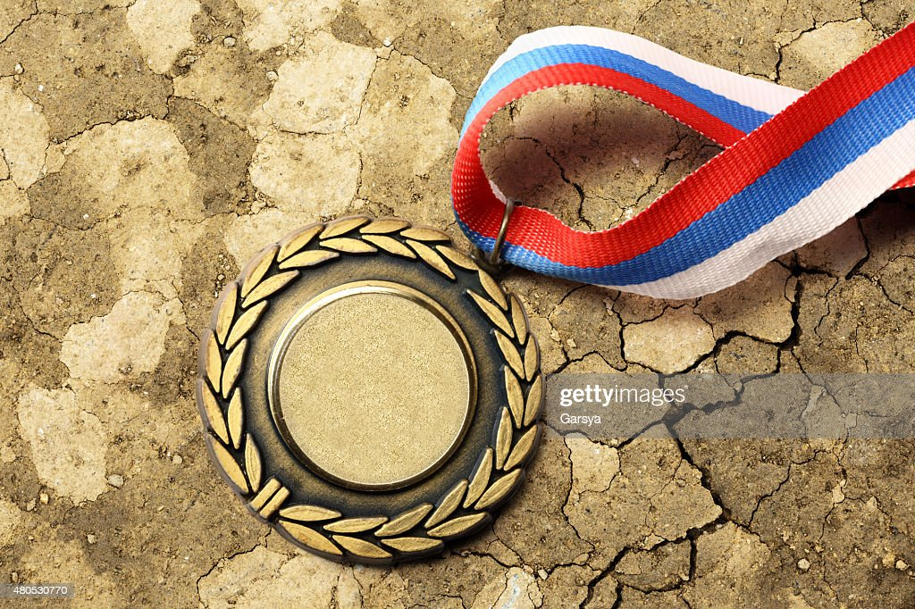 Metal medal with tricolor ribbon : Stock Photo