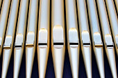 The metal structure ogan pipes of the Spreckels Organ Pavilion outdoor facility for pipe organ concerts. The Spreckels Organ Pavilion is the world's largest open-air pipe organ and lacates at Balboa P