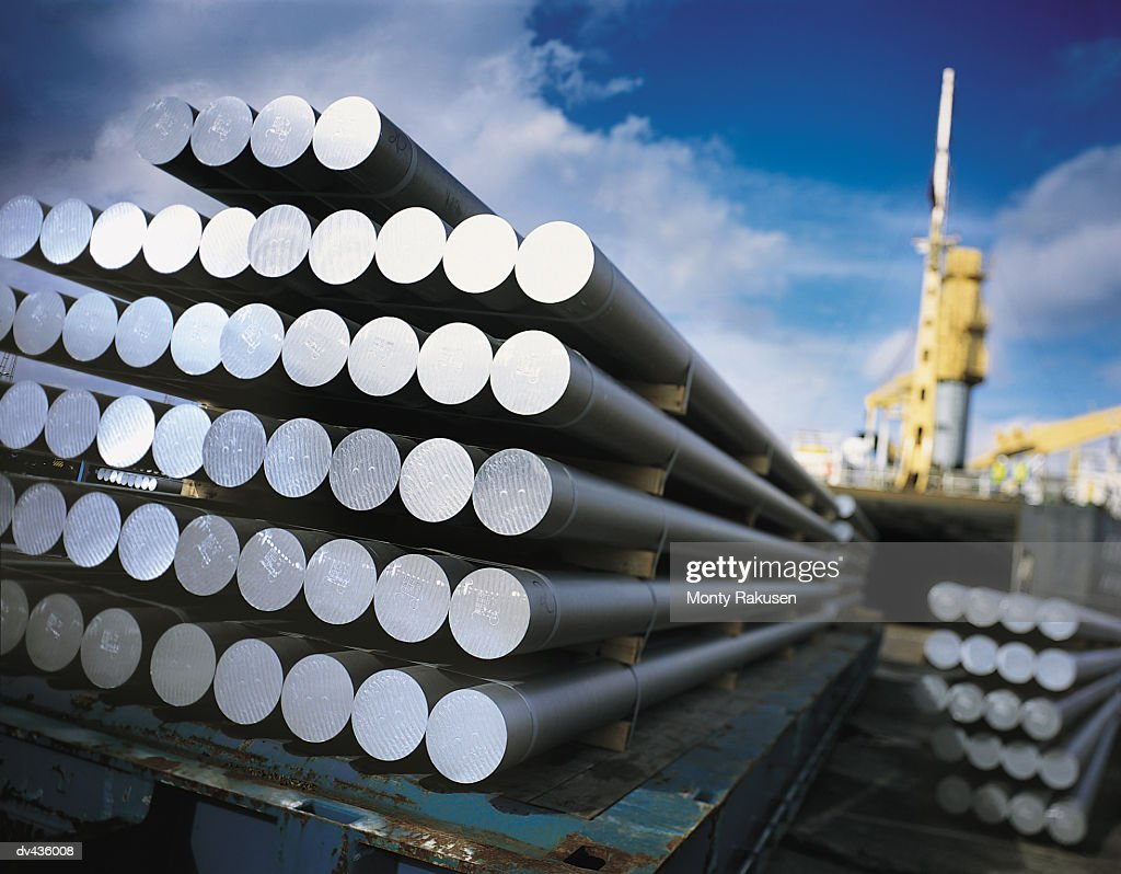 Metal pipes resting on pallet