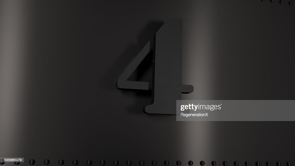 Metal Plate with the number four : Stock Photo