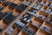 Old vintage metal printing press letters in a drawer
