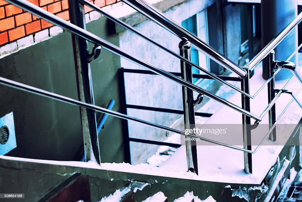 metal railing and stairs steps : Stock Photo