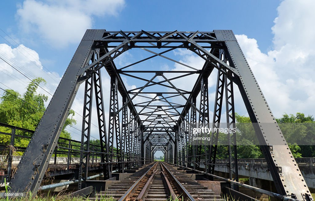 metal railway bridge,Old railway bridge : Stock Photo