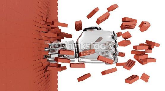metall robotergest tzte hand durch die wand brechen von stock foto thinkstock. Black Bedroom Furniture Sets. Home Design Ideas