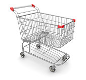 3d render of empty metal shopping cart , computer generated and isolated on white.