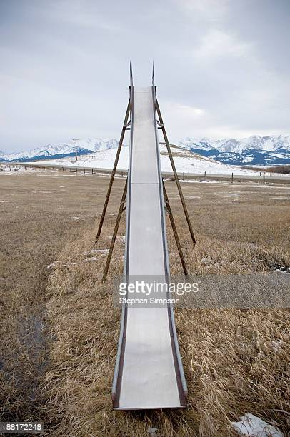 Metal slide in winter