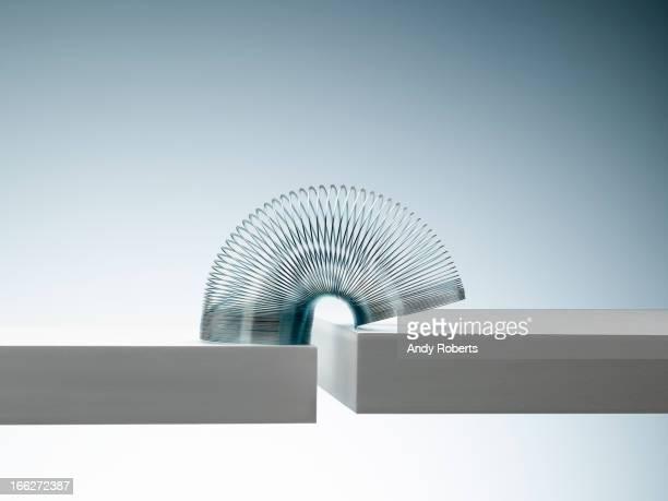 Metal slinky spanning space between blocks