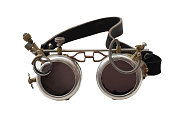 Metal steampunk glasses, goggle isolated on the white background, close up