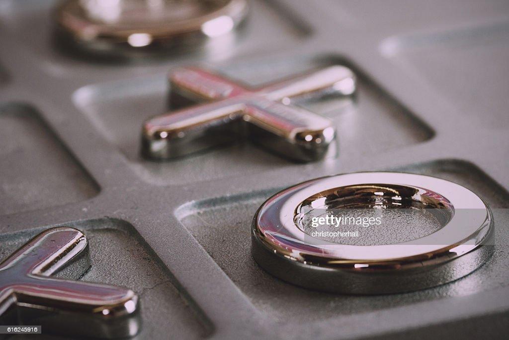 metal tic tac toe board Vintage Retro Filter. : Stock Photo