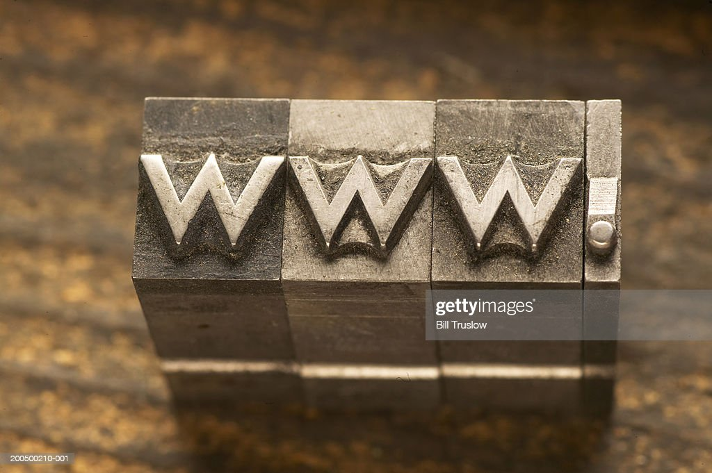 Metal type with abbreviation for world wide web : Stock Photo