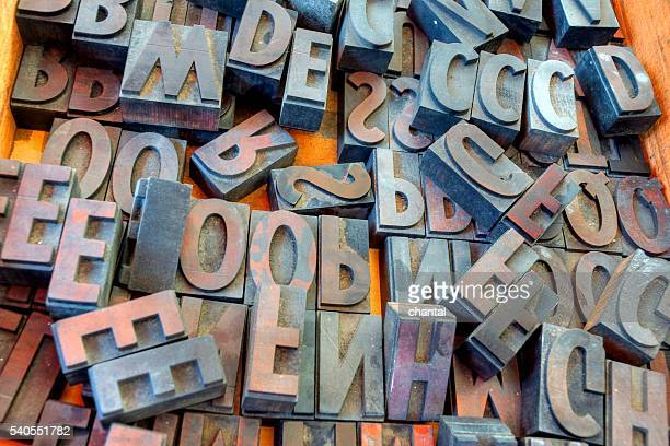 metal vintage letterpress printing blocks