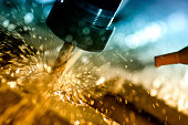 Metal welding sparks with cnc cutter