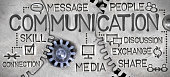 Macro photo of tooth wheel mechanism with COMMUNICATION concept related words and icons imprinted on metal surface