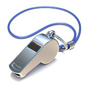 Metal whistle 3D render illustration isolated on white background