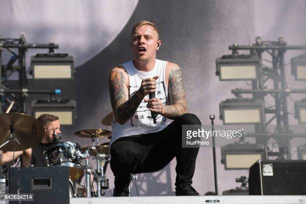 Metalcore band Architects perform live on stage on the third day of Reading Festival Reading on August 27 2017 The band currently consists of...
