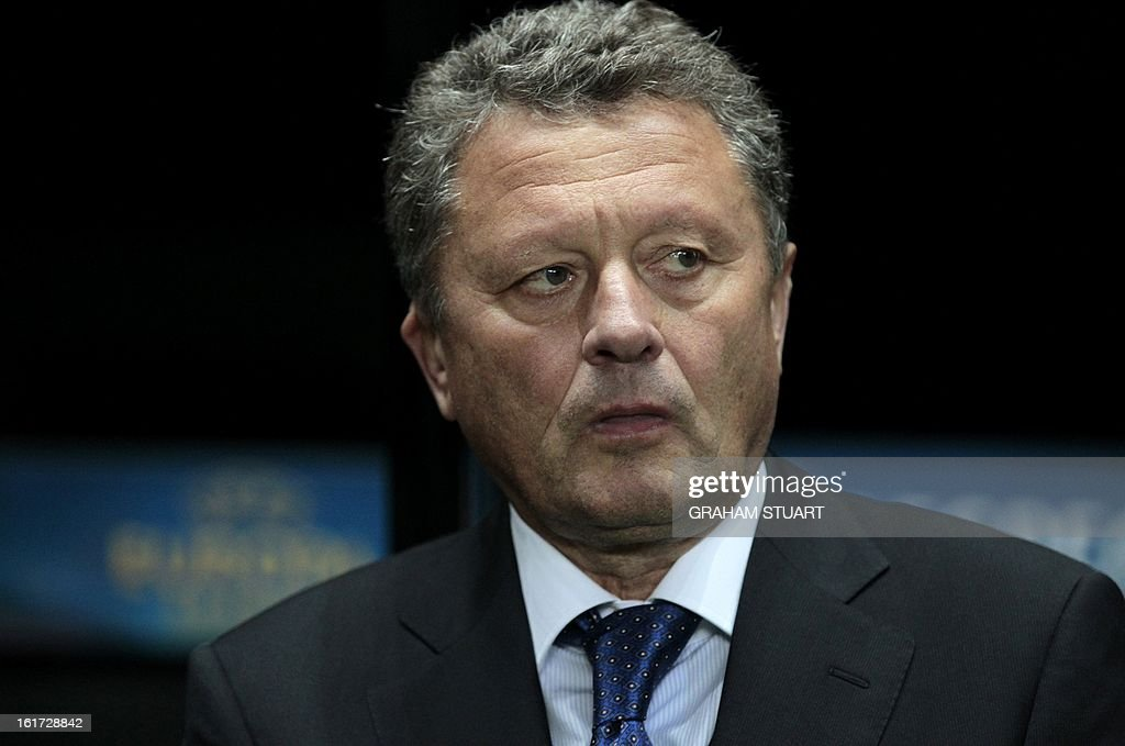 Metalist Kharkiv's manager, Myron Markevich looks on during the UEFA Europa League round of 32, first leg football match between Metalist Kharkiv and Newcastle United at St James Park, Newcastle-upon-Tyne, England, on February 14, 2013. AFP PHOTO/GRAHAM STUART