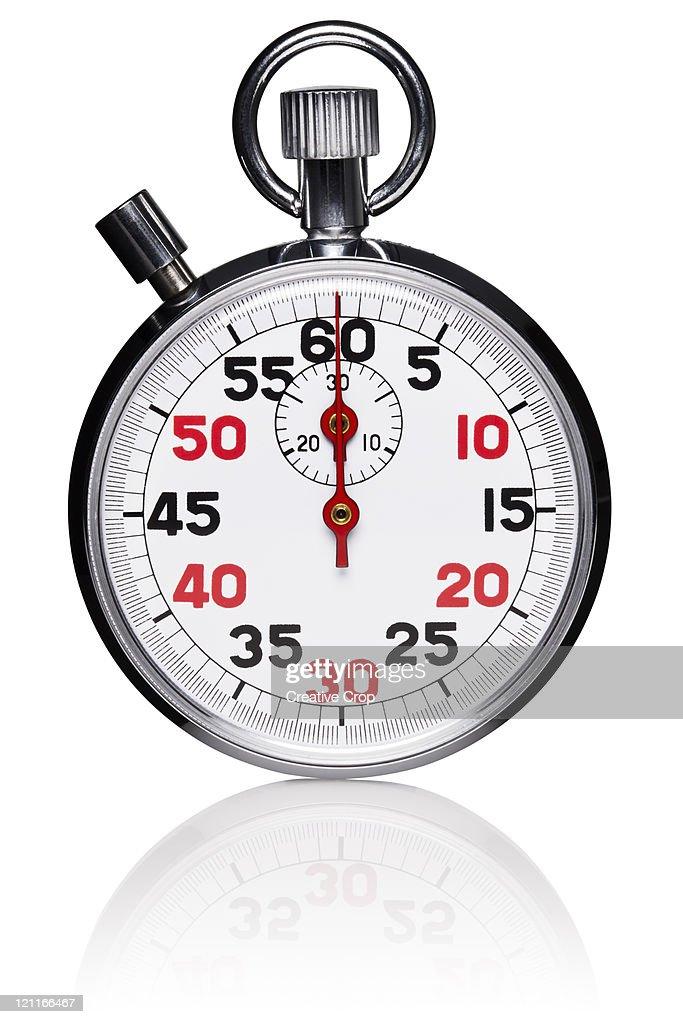 Metallic analogue stopwatch : Stock Photo