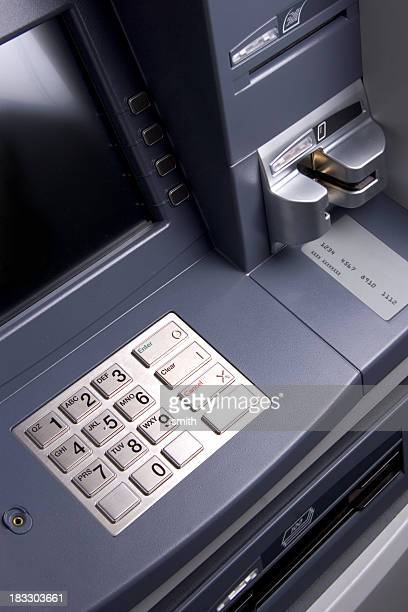 Metallic bank ATM machine with buttons and card insert