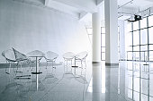 metallic chairs in big meeting room