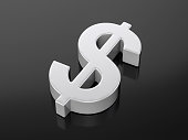 Metallic dollar symbol on a black background. 3d illustration.