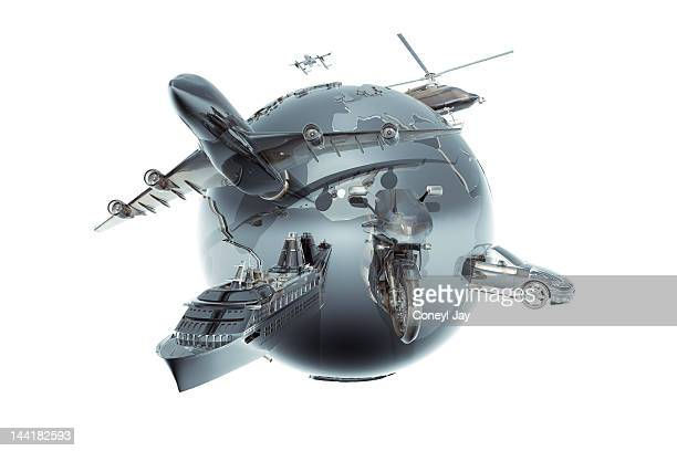 Metallic globe with different forms of tranport