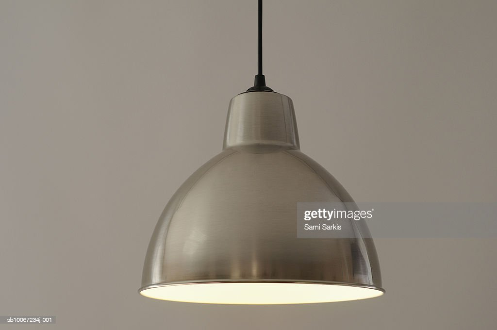 Metallic lamp shade, studio shot : Stock Photo