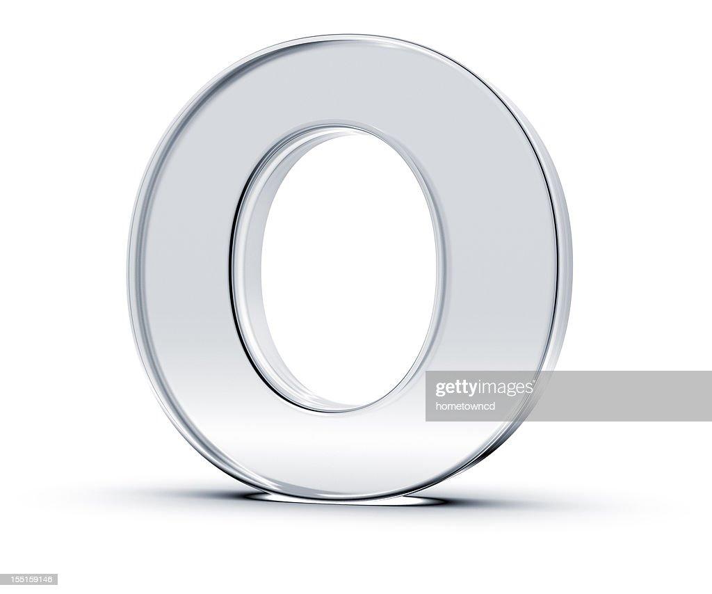 A metallic letter O standing upward