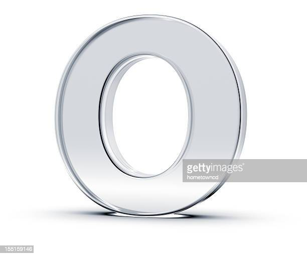 A metallic letter O standing upward