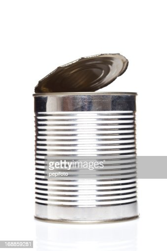 metallic open can