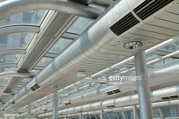 Metallic, shiny, long air ducts